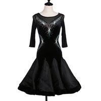 traje latino venda por atacado-Personalizar preto trajes de dança latina para as mulheres latino dress vestidos de dança rumba trajes modernos mulheres latina salsa dress
