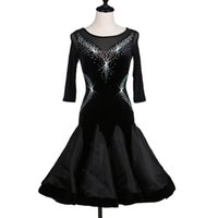 ingrosso abito nero nero-Personalizza i costumi di ballo latino nero per le donne latino vestito da ballo rumba abiti moderni costumi donna salsa latino
