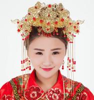 joyería nupcial de estilo vintage al por mayor-Tiara nupcial estilo chino vintage phoenix Joyería nupcial espectáculo hecho a mano Wo kimono cheongsam tiara corona de pelo femenino al por mayor