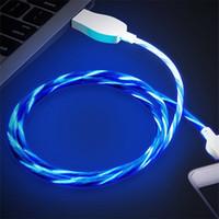 sincronización de transferencia de carga de cable usb al por mayor-1m Visible Flujo de luz LED Micro Cargador USB Cable Cable de transferencia de sincronización de datos Cable Luminoso Línea de carga plana