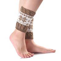 Wholesale Trendy Boots For Women - 2017 Winter New Girls Women Trendy Knitted Leg Warmers Trim Boot Cuffs knee Socks Crochet Printed Knit Warmers For Femme F3