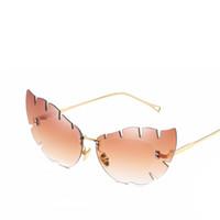 espelho de folha venda por atacado-2018 Borboleta forma Deixa Penas Designer de Olho De Gato Do Vintage óculos de Sol Das Mulheres Senhoras Shades Espelho Óculos de Sol Feminino Sunglases