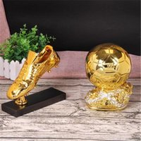 Wholesale Resin Craft Souvenir - Resin Crafts Golden Boot Awards Trophy Gold Shoes Cup Football Trophy Resin Craft Gifts Fans Souvenirs