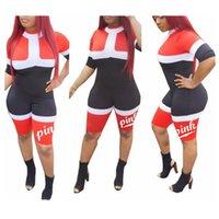 Wholesale One Piece Romper Woman - Women Geometric Print Jumpsuit Short Sleeve Tops Love Pink Sports Romper one Piece Pink Letter Sportswear Fitness Yoga Outfits FFA200 6pcs