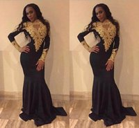 robes de soirée élastiques achat en gros de-Noir col haut Black Girl Mermaid Prom robes or Appliques dentelle perlé stretch satin manches longues robes de soirée robes de soirée robes