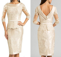 uzun çarpıcı gece elbiseleri toptan satış-Çarpıcı 3/4 Uzun Kollu Anne Resmi Giyim Aplike Dantel damat annesi Törenlerinde Abiye Anne Gelin Elbise