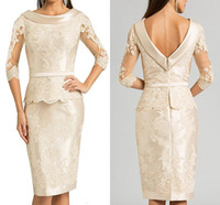 Wholesale stunning knee length dresses resale online - Stunning Long Sleeve Mother Formal Wear Applique Lace Mother of groom Gowns Evening Wear Mother Of The Bride Dress