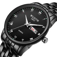herrenuhren wolfram stahl großhandel-Tungsten Steel Farbe Watch Premium Herrenuhr Black Strap Edelstahl Männlich Armbanduhr Englisch Kalender Datum Waterproof Clock