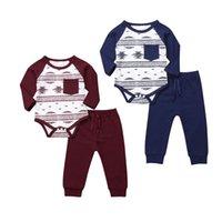 ingrosso abiti colorati di natale-Bambino di Natale del bambino del neonato copre l'attrezzatura del pagliaccetto Long Pants 2 pezzi da Blu Rosso Colori geometrica Autunno Primavera Body Abbigliamento