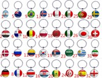 Wholesale Strong Chain - 2018 Russia World Cup Hot Football Double Size Keychains Key ring Strong 32 Counties Soccer Key Chains Souvenir