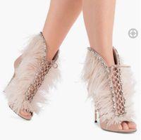 botines de plumas al por mayor-2018 nuevas mujeres de tacón delgado botas de verano botines peep toe botines de color rosa botas de diamantes de imitación zapatos de fiesta de las señoras con cordones botines de plumas