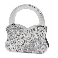 блестящие серебряные сумочки оптовых-Супер продать серебряный тон повторяющийся блеск Складная вешалка сумка крюк