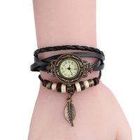 ingrosso orologio in pelle lavorata a maglia-Orologio da donna in pelle a forma di pendenti con pendenti in foglia d'argento a forma di orologio da donna