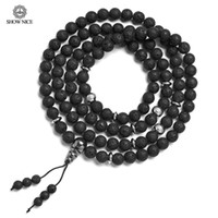 буддийские браслеты оптовых-8mm Natural Stone Lava Buddhist Prayer  108 Mala Bracelets Bangles Yoga Jewelry Therap Healing Essential Oil Charm Necklace