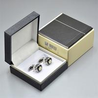 gemelos en caja al por mayor-Precio al por mayor de alta calidad mb Hombres camisa Gemelos joyería moda Cobre metal Gemelos con la caja y el Manual de garantía