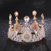 hochzeitstorte blumen gold großhandel-Luxus Brautkrone Strass Kristalle Maskerade Hochzeitstorte Kronen Stirnband Haarschmuck Party Tiaras Barock schickes Blumenmädchen