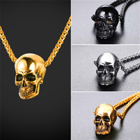 Wholesale mens chains - U7 Skull Pendant Necklace Stainless Steel Gold Plated Black Gun Plated Mens Skull Necklace Punk Gothic Necklace Halloween Gift GP2776