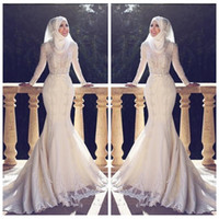 vestido muçulmano fishtail venda por atacado-2018 Modest Magro Fishtail Estilo Árabe Da Sereia Vestidos de Casamento Mangas Compridas Lace Applique O Pescoço Hijab Sereia Longos Vestidos de Noiva Muçulmano