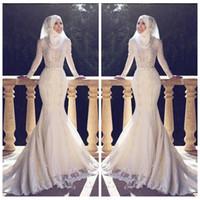ingrosso vestito di tulle hijab-2018 Modesto Slim Fishtail stile arabo sirena abiti da sposa maniche lunghe pizzo applique o collo hijab sirena lungo abiti da sposa musulmano