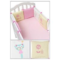 bebekler yataklar toptan satış-Sıcak Satış 6 Adet / grup Bebek Yatağı Tampon Beşik Karyolası Tampon Bebek Yatağı Koruyucu Beşik Tampon Yenidoğan Toddler Yata ...