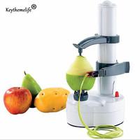 cortadora de frutas al por mayor-Peladoras Keythemelife Multifunción Eléctrico Pelador de frutas y verduras Peladora de patatas Máquina Cortadora de manzanas y frutas Peladora 2d