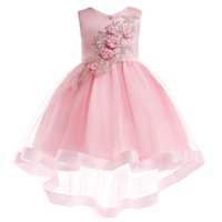 Wholesale cover girl hand online - Princess Lovely Jewel Neck Lace Beading Flower Girl Dresses Pink Tulle Lace Appliques Button Covered Kids Formal Wear Cheap