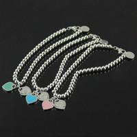 rosa armbänder zum verkauf großhandel-316L titanium stahl Heißer verkauf S925 Sterling Silber perlen kette armband mit emaille grenn und rosa herz für frauen und muttertag g