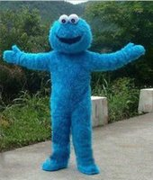 Wholesale Sesame Street Mascots - 2018 High quality Sesame Street Blue Cookie Monster Mascot costume Fancy Dress Adult size Halloween free shipping