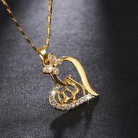 müsrifî kolye takı toptan satış-5 ADET Toptan Aşk Kalp Orta Eastem Dini Müslüman kadınlar için kolye kolye müslüman İslam takı aksesuarları En Iyi hediye