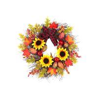decoraciones de girasol regalos al por mayor-45/60 cm Puerta Colgante de Pared Guirnalda de Navidad Girasol Maple Leaf Garland Regalos de Acción de Gracias Ornamento Decoración Del Partido Accesorios