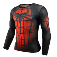 Wholesale hot sale anime for sale - Hot Sale Fitness MMA Compression Shirt Men Anime Bodybuilding Long Sleeve Crossfit D Superman Punisher T Shirt Tops Tees