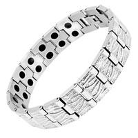 био серебро оптовых-Escalus Men Health Bracelets&Bangles Bio Energy Stainless Steel Full Silver Color Male Wristband Charm Bracelet Pulseras Hombre