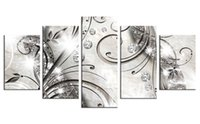 Wholesale Frames Backgrounds - 5 Pieces Canvas Painting Diamond Branch Wall Art Painting Stripe Background Wall Art For Home Decor with Wooden Framed Gifts