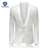 şarkıcı aşaması için elbiseler toptan satış-Erkekler için beyaz Blazer Çiçek Smokin Düğün Elbise Sahne Kostümleri Şarkıcılar Slim Fit Paisley Sağdıç Takım Elbise Ceket