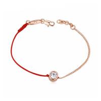 pulseras de cristal genuino al por mayor-2018 joyería fina cuerda de línea roja con Real Rose Gold Color cadena pulsera genuina cristal checo regalo del día de la madre