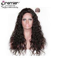 tops de seda negro mujer al por mayor-Premier Seda Top 4.5 pulgadas Parte del cordón profundo Remy brasileño Pelos humanos Wave Natural 130% Density Lace Wig For Black Women