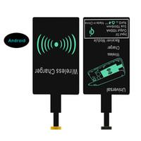 iphone için fre toptan satış-Evrensel Qi Kablosuz Şarj Alıcı Adaptörü Reseptör Alıcı Bobin Android telefon iPhone 7 Için Mikro USB Şarj Artı 6 6 s Samsung DHL fre