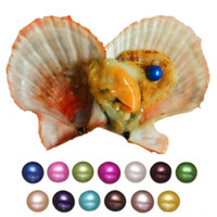 ingrosso perline di acqua rosa-Perle di acqua naturale di mare grande rotondo perle 2018 coltivate perla mitilo fattoria giallo ostrica branelli allentati fornitura all'ingrosso 6-7mm 20 colori spedizione gratuita