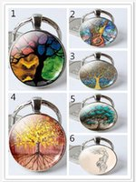 Wholesale Men Rings Gem - 2018 New arrival personality tree of life keychain Time gem luxury rings key pendant