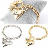 klasik altın kalp bilezik toptan satış-Romantik Vintage Bilezikler Son Gümüş Altın Kadınlar Takı Kristal Manşet Charm Bileklik Zincir Kalp Kolye Bilezik Takı
