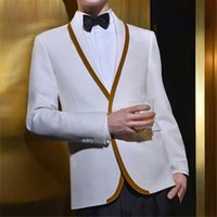 trajes de fiesta champán al por mayor-2018 Champagne blanco trajes para hombre trajes de boda de solapa chal Novio Slim Fit formal por encargo de Esmoquin vestido de noche del mejor hombre Prom 2Piece