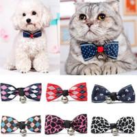 ingrosso colletto di bowtie-Lacontrie Hot Sales Multi Colori Lovely Bow Cats Dog Tie Cani Bowtie Collar Pet Supplies Campana Cravatta Collare 1 pz