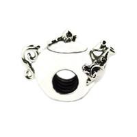 vasos de chá prateados venda por atacado-2018 Primavera New 925 Sterling Silver Enchanted Tea Pot Charme Com Clear CZ Bead Serve Para Pandora Pulseira DIY para Mulheres Jóias acessórios