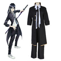 Wholesale Project Games - Anime K Project K RETURN OF KINGS Yatogami Kuroh Cosplay Costume Full Set Black Uniform ( Trench + Pants + Tie )