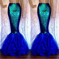 Wholesale Fancy Cocktails - Fashion 2017 Women Cosplay Sexy Mermaid Costume Fancy Party Cocktail Sequins Maxi Tail Skirt