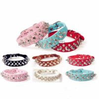 Wholesale spiked leather dog collars color online - Punk Style Spiked Pet Dog Collar Round Bullet Nail Rivet Studded Collar Neck Strap small dog Collar PU Leather Pet roducts
