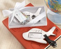 Wholesale Airplane Chrome - Wholesale- 180pcs Lot+Destination Wedding Favors Chrome Airplane Luggage Tag in White Gift Box Wedding Baggage Tags Favor+FREE SHIPPING