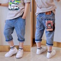 ingrosso jeans elastico dei bambini jeans-2018New Jeans stile jeans Elastico in vita Pantaloni dritti piedi da bambina in volpe bambini bambini pantaloni jeans