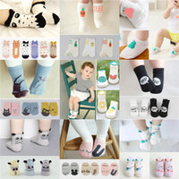 Wholesale infant cartoon animal socks - Baby Cotton Socks Toddler Infant Short Socks Kids Cute Cartoon Animals Floor Sock Children Length Knee Stockings Free DHL 07
