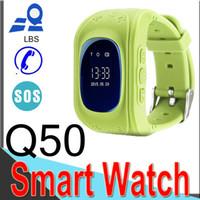 telefone quad-sim cartão venda por atacado-Q50 crianças lbs rastreador crianças smart watch phone sim quad band gsm seguro sos chamada q80 para android sim card xcq5